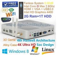 Vesa PC With 2GB DDR3 1TB HDD Intel Core i5 4200U 1.6GHz SOC Design Haswell Architecture MINI PC Windows DHL Free Shipping