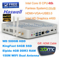 Haswell 4GB DDR3 64GB SSD 500GB HDD Intel Core i5 4200U 1.8GHz Wifi USB3.0 4K HD HTPC Smart Computer MINI PC DHL Free Shipping