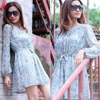 2014 Hot Fashion Summer Womens Slim Floral Chiffon Dress Shirt Collar Above Knee Long Sleeve Dress Loose Plus Size B16 SV004146