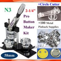"New Pro N3 NEW 2-1/4""(58mm) Badge Button Maker Machine + Adjustable Circle Cutter+100 Sets Metal Pinback  Button Supplies"