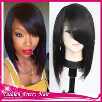 NEW Bob Cut Wigs Unprocessed Virgin Peruvian Glueless Lace Front Bob Wigs With Bangs Short Human Hair Bob Wigs For Black Women