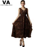 leopard summer dress 2014 long maxi dress sexy casual print vestidos plus size xxl xxxl woman 2015 new P00087