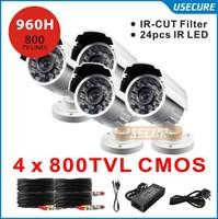 4pcs 800TVL CMOS 960H IR CUT Filter 24pcs IR leds Day/night waterproof indoor / outdoor CCTV security camera system with bracket