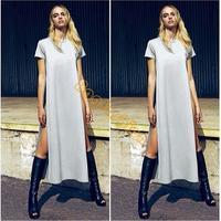 Hot! 2014 New Womens maxi casual shirt dress, Ladies patchwork sexy party bandage swim wear long dress b4 SV003116