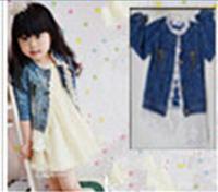 Promotion!!! 2014 New Girls Kids Lace Cowboy Jacket Denim Top Button Costume Outfits Jean Coat 2-7T