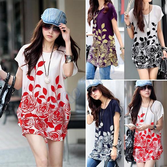 Wholesales 2014 Spring Summer New Novelty Women Short Sleeve Ice Silk Dress Casual Printed Dress Loose Big Yards 4Colors#3 13037(China (Mainland))