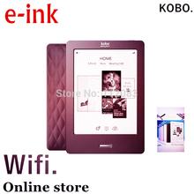 Kobo, 6 zoll, e-ink, ebook reader, touchscreen, e buch, nicht glo, wifi, eReader, tinte, bücher versandkostenfrei, haben auch Kindle für verkauf(China (Mainland))