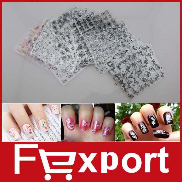 2014 New 50 Sheet x 3D Design Tip Nail Art Nail Sticker Nail Decal Manicure Mix Random Color Flower ,401(China (Mainland))
