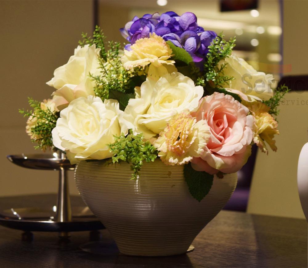 Vasos de flores decorativas plantadores Bonsai arranjos de flores artificiais mk relógio de flores de seda com vaso para casamentos decoração de(China (Mainland))