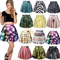 Women Girl's Summer Dress Sexy Stylish Pattern Print Elastic Waist Short Mini chiffon Skirt 15 Colors Free Shipping b6 SV004587