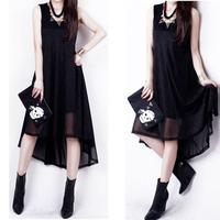 Free Shipping Hot Sale Summer 2014 Woman's Dress High-End Chiffon Patchwork Sleeveless Irregularity Dress Black S-XXXL X0018
