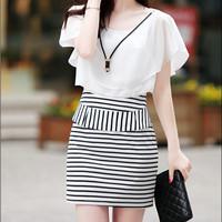 womens dresses fashion 2014  Chiffon women white Pleated dress Butterfly Sleeve Strped Packet Hip Dress Black/white X0024
