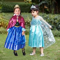 2014 Frozen Elsa Anna Princess Costume Christmas Girls Dress Accessories Shawl Christening Birthday Party Dresses Cosplay Kids