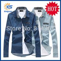 Hot Sale 2014 New Autumn Famous Brand Mens Casual Dress Shirt Slim Fit Long Sleeve Denim Men Casual-shirts 3XL Free Shipping