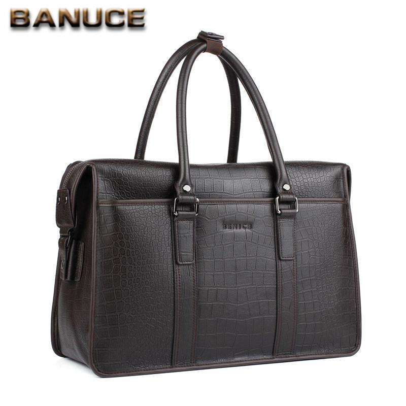 BANUCE Men's Travel Bags 100% Genuine Leather Crocodile Pattern Male Business Big Briefcase Shoulder bags laptop bag Brown(China (Mainland))