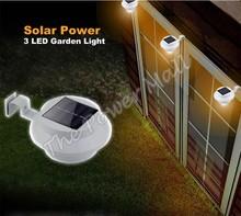 Venta caliente Panel de energía solar 3 LED Bombilla Luz Gutter Valla de jardín al aire libre pared del vestíbulo Camino de la lámpara B19 TK1397(China (Mainland))