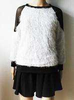 Pullover New Arrival Freeshipping Sweater Women Women Tops 2014 Autumn Sweater Sexy Raglan Sleeve Transparent Mesh Korean Hot