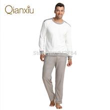 Qianxiu Brand Pajamas  Men Sleepwear Casual  Long Sleeve Pajama Set Men Sleep Bottoms Free Shipping(China (Mainland))