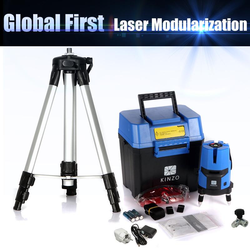 Free shipping whole set KINZO multifuncton laser line cross line laser rotary laser level 360 selfing leveling 5line 4V1H3Point(China (Mainland))