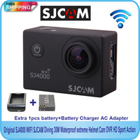 Free shipping!!Original SJ4000 WiFi  SJCAM Diving 30M Waterproof Sport Action GoPro Style Cam+Extra 1pcs battery+Battery Charger