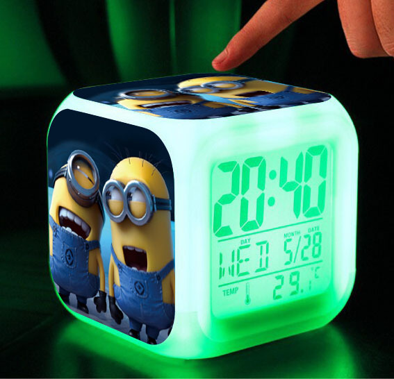 Hypnotic LED 7 Colors Digital Alarm Clock Minions despicable me Thermometer Night light electronic toys cartoon kid toys(China (Mainland))