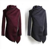 New Women Coat Asymmetric PU Piping Zipper Pockets Fashion Slim Wool Trench Winter Coat Color Navy Gray Casacos Femininos S-XXL