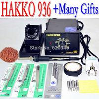 Free shipping 220V HAKKO 936 soldering station Electric iron+A1321 ceramic heater core+5pcs iron tip/gifts +EU Conversion Plug