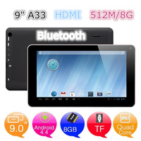 HOT! ! 9 inch Quad Core Allwinner A33 tablet+dual camera+Bluetooth+3300mAh+512M/8G+Android 4.4 Christmas gift Big discount