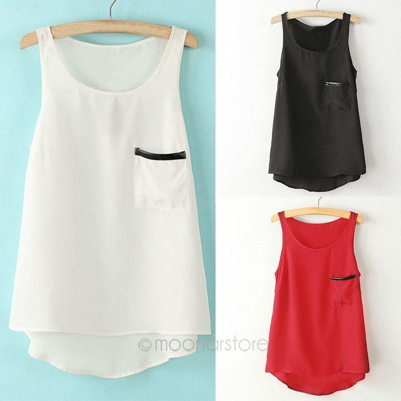 Pocket Shirt Tops 2015 Women's Fashion Simple Style Pocket Round Neck Sleeveless Tank Tops Asymmetrical Shirt 25JE3112(China (Mainland))