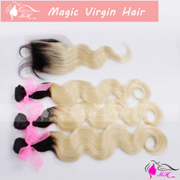 #1b/613 Ombre Hair Extensions Dark Roots Blonde Virgin Human Hair 2 3 4 5 Pcs With Closure Ombre Brazilian Hair Body Wave