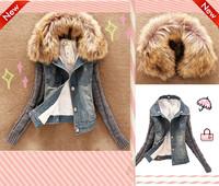 2014 Newest Women's Autumn Winter Short denim jacket women winter slim large fur collar Lamb Woolen Patchwork outerwear for lady