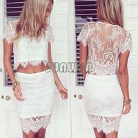 New Style Women's Lace Skirt Lace dress Ladies Tops + Skirt 2 pcs Set Party Evening Dress Women Sexy Mini Dress B6 SV005584