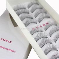 2014 New Fashion Pure Handmade Natural Dense Black False Eyelash Women Lady Beauty Makeup 10 Pairs/1 Set With Box Wholesale