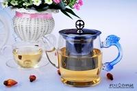 300ml elegant glass kettle/ tea pot/ pot/ teapot with engraved dragon handle, glass tea set, 2 colors available, nice gift!