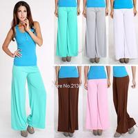Wholesale Sexy Trendy Flare Solid Colors Big Loose Yoga / Dance Palazzo Pants Women Casual Wide Leg elastic waist Trousers b6