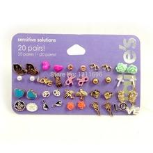 BP Jewelry Claire fashion accessories stud earring pack set 20 pairs birdIcecream stars cross flower love