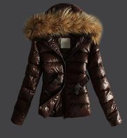 E-Unique New 2015 Winter White Duck Down Large Nature Raccoon Fur Collar Short Down Coat Female Plus Size Slim Down Jacket JW09