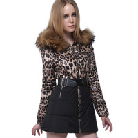 Woman Winter Fur Collar Coat 2014 New Brand Fashion Leopard Print Hood Long Warm Down Jacket Casaco Feminino Plus Size Parka M2