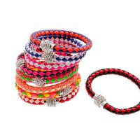 2014 Hot Sale Rock White Crystal Leather Bracelet Jewelry Magnetic Snap Charm Bracelets Bangles Personality  Pulseiras Femininas