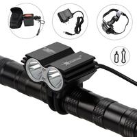 Free shipping 5000Lumens SolarStorm 2x CREE T6 LED Bicycle Lamp Bike Light Headlamp Headlight Lantern 12000mAh battery Set