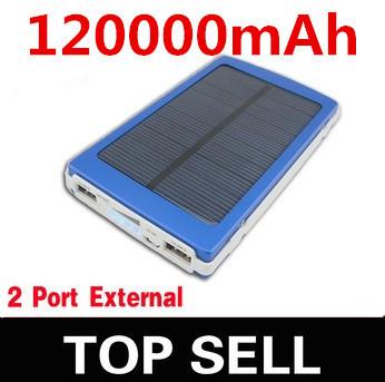 120000mAH Solar Charger 2 Port powerbank ,Power Bank For Cellphone iPhone 4 4s 5 5S 5C iPad iPod Samsung Portable(China (Mainland))