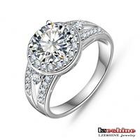 Wholesale New Design Trendy 2014 Gift Rings 18K Gold/Platinum Plated AAA Swiss Zircon Women Wedding Rings CRI0009
