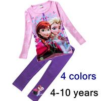 Frozen Clothes Autumn Suit Baby Girl T Shirt Children Clothing Set Cartoon Elsa Anna Baby Kids pink pyjamas outfits tee + Pants