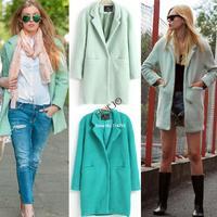 HOT sale Winter fashion women's graceful wool outerwear& coat woolen trench Light Green, Dark Green M;L;XL b9 SV007222