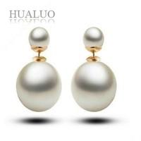 New Arrival Elegant 18k Gold Plated Double Pearl Piercing Statement Wedding Stud Earrings For Women  CJC6 CJC21 CJC10
