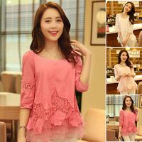 New Camisas Femininas Blusas Femininas 2014 Casual Short Sleeve Women Chiffon Peplum Blouses Shirts Clothing Blusas Roupas