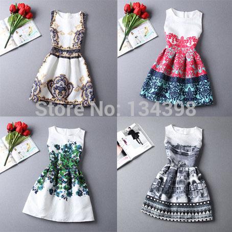 2015 New Casual Jacquard Mini Dress Fashion Cozy Cloth Summer Brand Elegant Women Dress Flower Print Porcelain Embossing Dresses(China (Mainland))