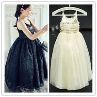 Hu sunshine wholesale new 2015 summer girls sleeveless mesh patchwork princess solid Sequins black beige dress