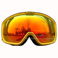 Deluxe Polarized Skiing Snowboarding Glasses Goggles Eyewear Dual Lens Antifog Yellow UV Protection With Case Cleaning Pounch