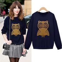 Sweatshirt 2015 Spring Women Owl Print  Pullover Long Sleeve Plus Size Hoodies Casual Cardigans Sport Suit Tracksuits Sudaderas